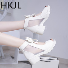 HKJL 2019 summer new women's sandals Korean version go with bow fish mouth chunky pumps with platform hollowed-out heels A143 go fish dvd