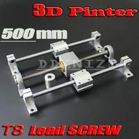 HOT sale 3D Printer guide rail sets T8 Lead screw length 500mm + linear shaft 8*500mm + KP08 SK8 SC8UU+ nut housing +coupling