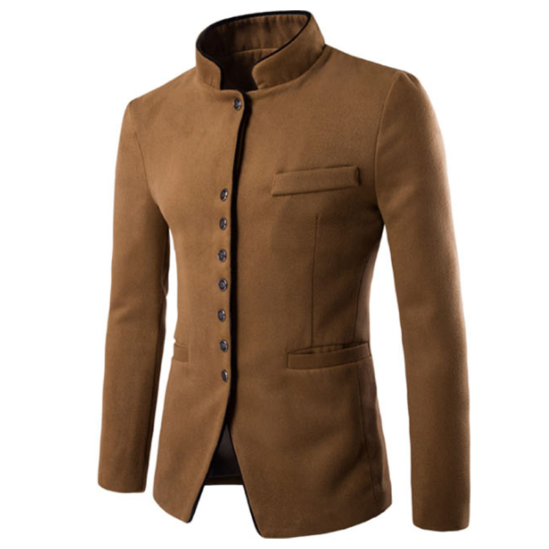 Abrigo largo de lana de Otoño Invierno para hombre abrigo largo de lana cuello grueso camiseta abrigo largo para hombre chaqueta de negocios para hombre