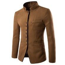 Осенне-зимнее шерстяное пальто, длинное шерстяное пальто с воротником, утепленное мужское длинное пальто, блейзер для бизнеса