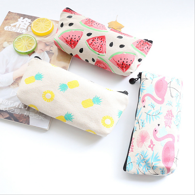 1x Korea canvas pencil bag capacity pen bag cosmetic bag of students pencil case kawaii school office stationer supplies in Pencil Bags from Office School Supplies