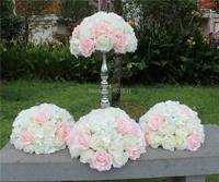 SPR blanco rosa caliente VENTA 10 unids/lotwedding tabla artificial bola de la flor decoración central de la boda plomo carretera
