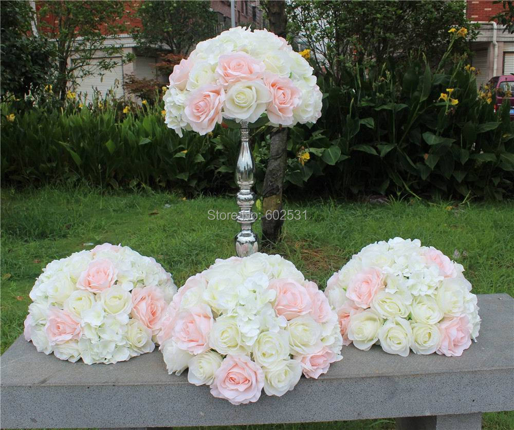 SPR pink white hot SALE 10pcs/lotwedding table flower ball centerpiece decoration wedding road lead artificial-in Artificial & Dried Flowers from Home & Garden    1