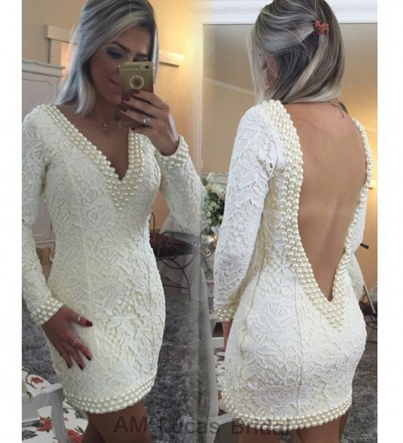 Elegant Robe De Cocktail Dresses Long Sleeves 2016 Lace Beaded Pearls Party Gowns Short Dresses Vestido De Festa Curto