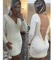 Elegante Robe de Vestidos de Cóctel de Manga Larga 2016 de Encaje Con Cuentas de Perlas Vestidos de Fiesta Corto Vestidos Vestido De Festa Curto
