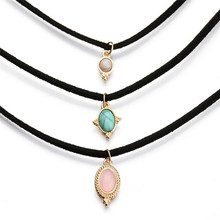 Retro Leather Turquoise Choker Necklace Pendants Women 2016 Fashion Luxury Three Layers Steampunk Collier Femme Choker