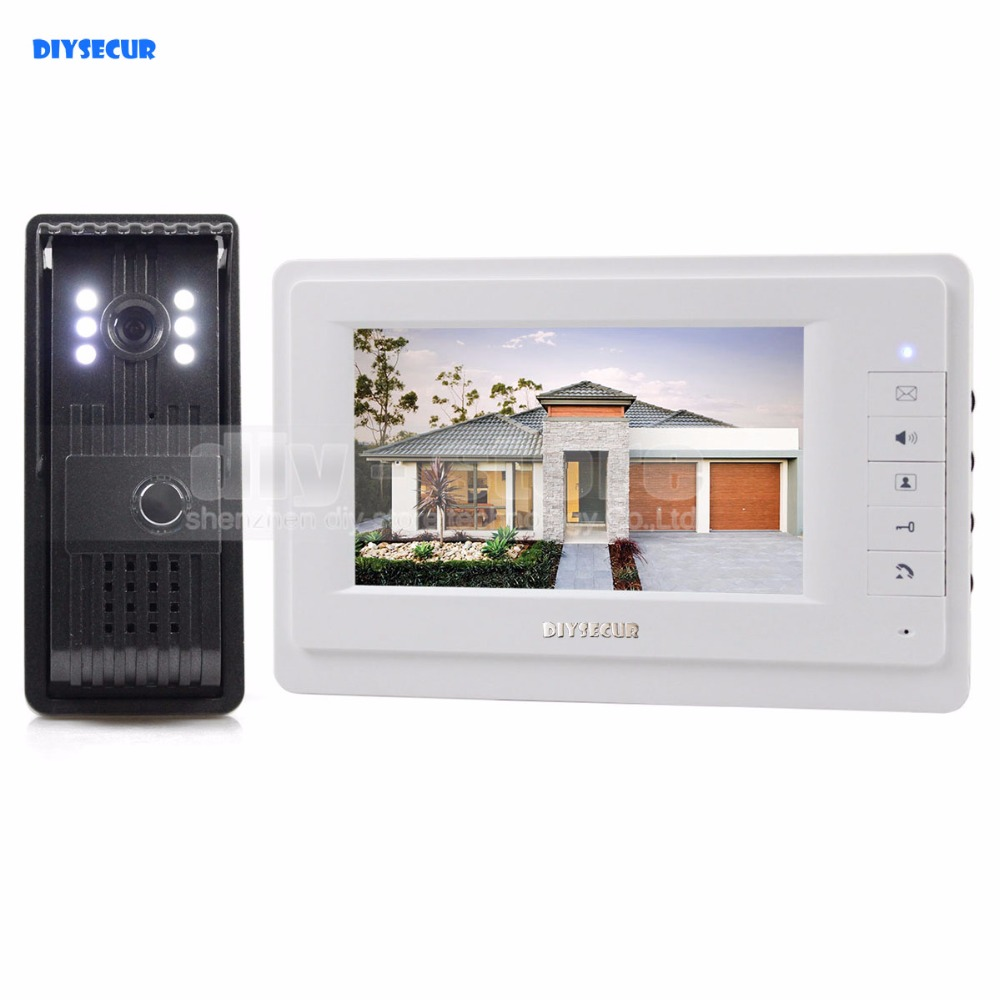 DIYSECUR 7inch HD Screen Video Door Phone Intercom HD Outdoor unit Camera Night Vision System 1 Camera 1 Monitor V70T-F 7inch video door phone intercom system for 5apartment tft lcd screen 5 flat indoor monitor with night vision cmos outdoor camera