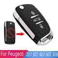 New Modified 3 Buttons Car Key Shell For Peugeot 207 307 407 607 308 Replacement Remote Folding Flip Key Shell With Uncut Blade