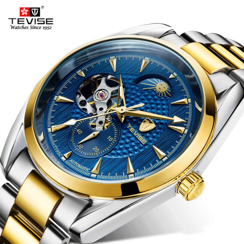 TEVISE 2017 Skeleton Tourbillon Mechanical Watch Automatic Men Classic Silver Gold Steel Mechanical Wrist Watches Reloj Hombre business men mechanical wrist watches automatic self wind stainless steel power watch for male reloj hombre silver with gold