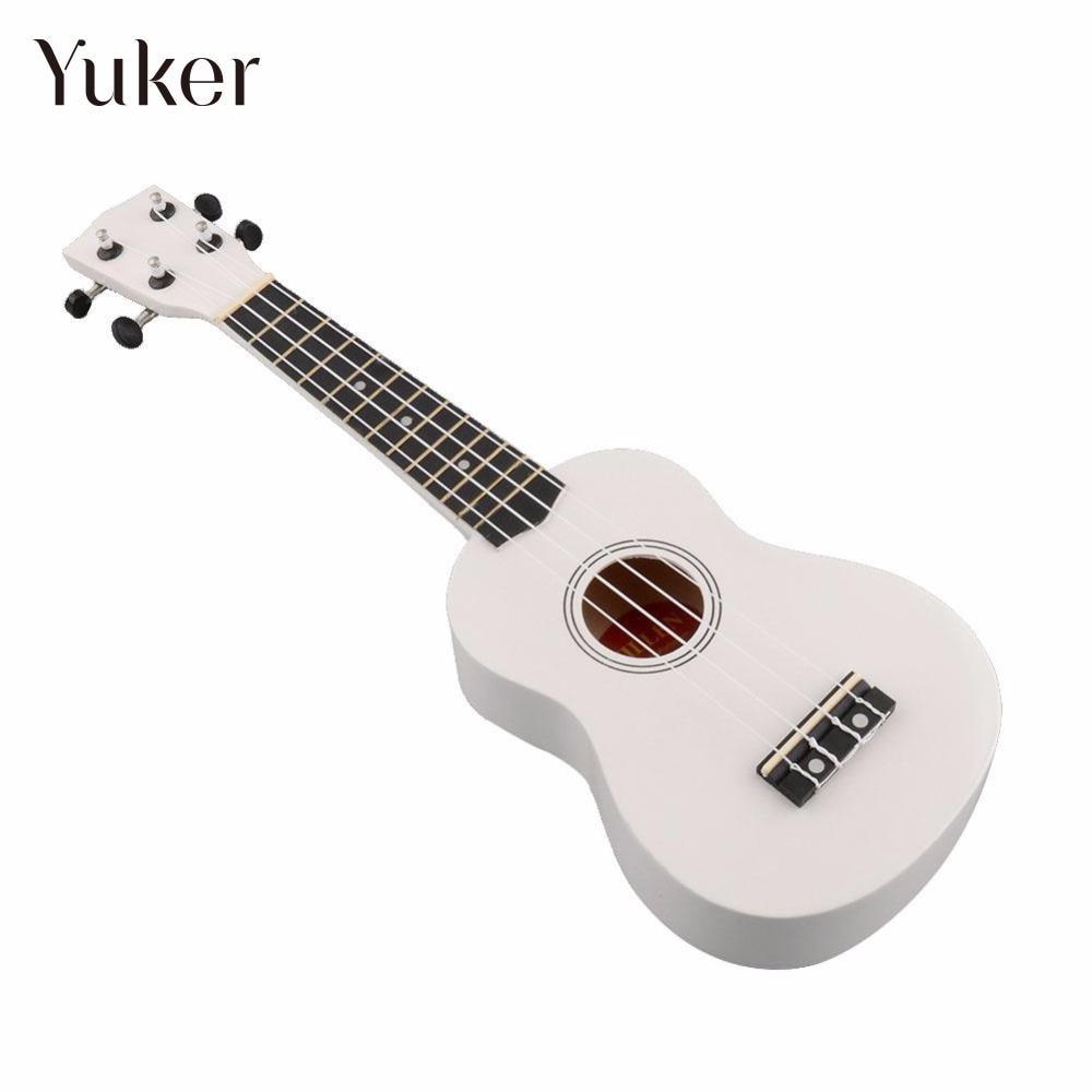 Yuker 21 Inch Uke Ukulele Ukelele Mahalo White 4 String Art Gifts Soprano Music Guitar Instrument For beginners Guitarist ...