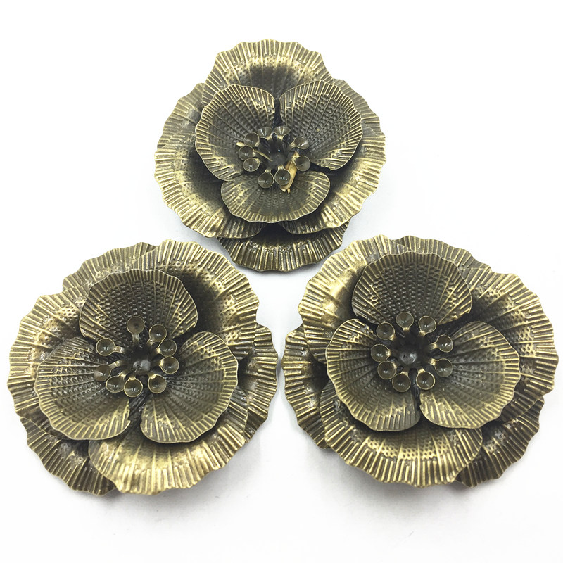 Cameos Embellishment Bag Ornament Rose Flowers Alloy Jewelry Crafts DIY Making Findings Bronze Tone 4.6x4.3cm 10Pcs