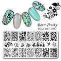 BORN PRETTY 1 Pc Nail Stamping Plate Floral Rectangle Manicure Nail Art Image Plate Template BPX-L017