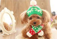 2017新しい冬暖かい犬の帽子とスカーフセットペットスカーフペット犬用品