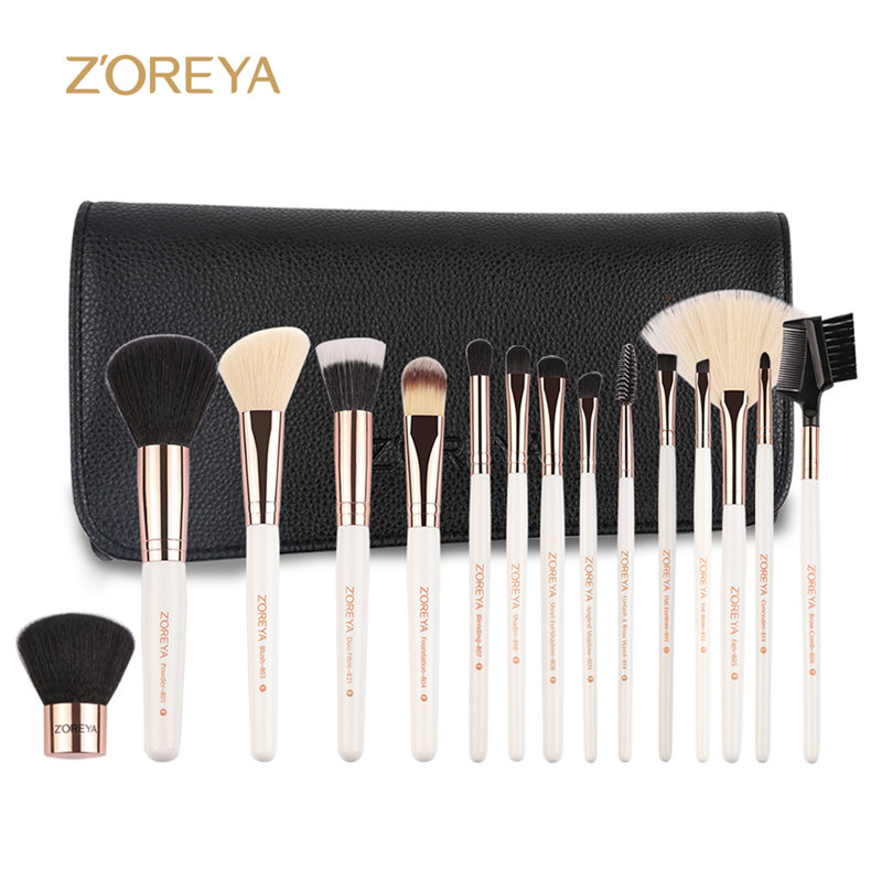 ZOREYA 15pcs Professional Makeup Brush Sets Foundation Blending Coutour Eyeliner Brushes Cosmetic Make Up Brush Tool