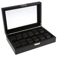 Fashion Jewelry Display Case Jewelry Storage Box 12 Slots Black