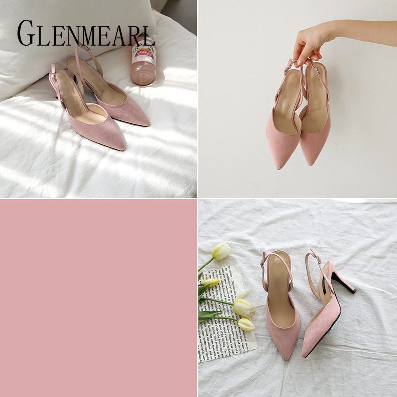 Image 3 - Women Sandals High Heels Summer Brand Woman Pumps Thin Heels Party Shoes Pointed Toe Slip On Office Ladie Dress Shoe Plus SizeDE-in High Heels from Shoes