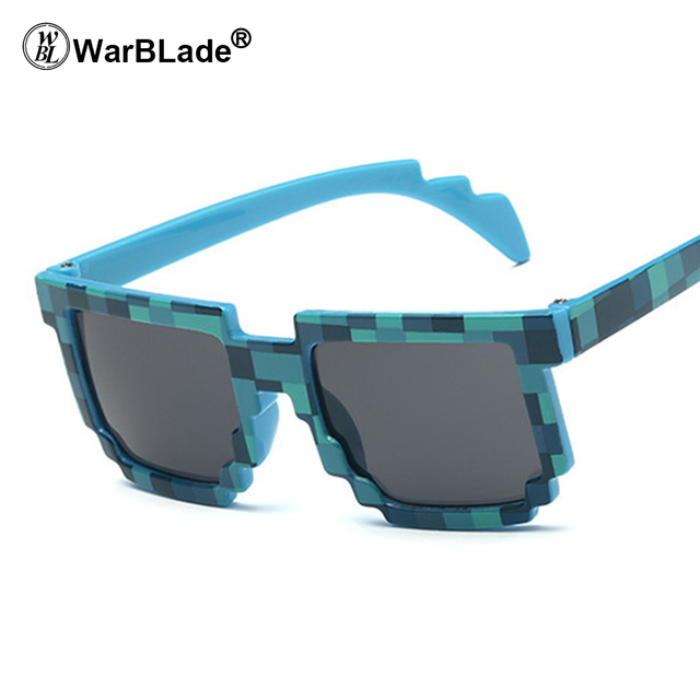 e0ac5909cf Warblade 10 unids moda niños Gafas de Sol menor tamaño Minecraft sol  mosaico Niños Niñas pixel eyewares novedad regalo los