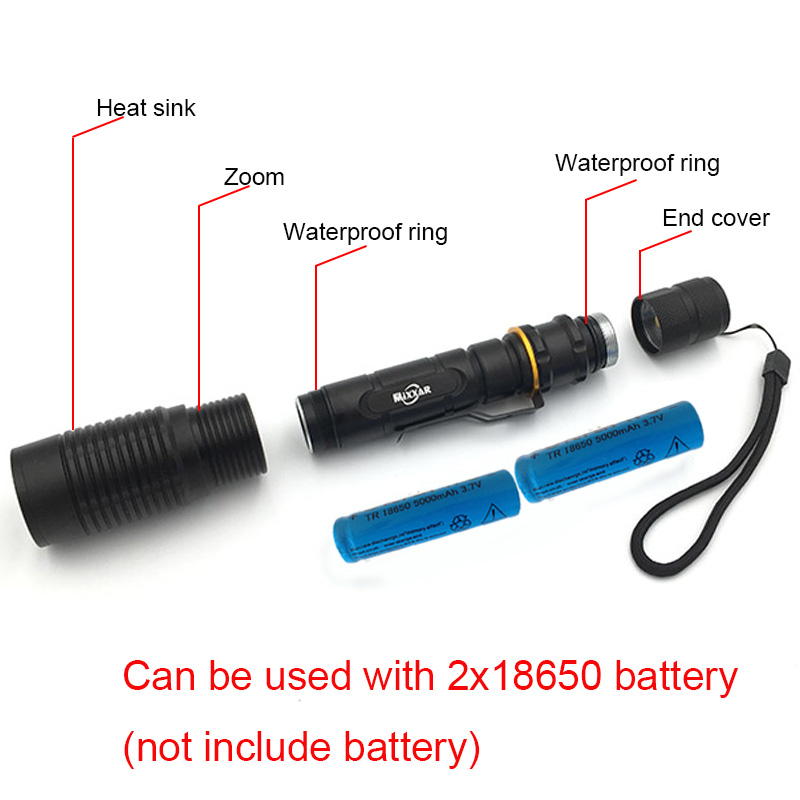 EZK10 LED Flashlight V5 CREE XM-L T6 8000LM 5-Modes Zoom Torch tactical flashlight can be used with two 18650 batteries