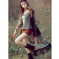 Длинные Кимоно Женщины Кисточкой Вышивка этническая кардиган 2016 Старинные летом шифон цветочные Кимоно ropa mujer повседневная блузки рубашки