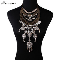 Miwens Individuality Vintage Crystal Flower Pendant Necklaces Fashion Maxi Collar Alloy Collier Statement Necklace Jewelry 6793
