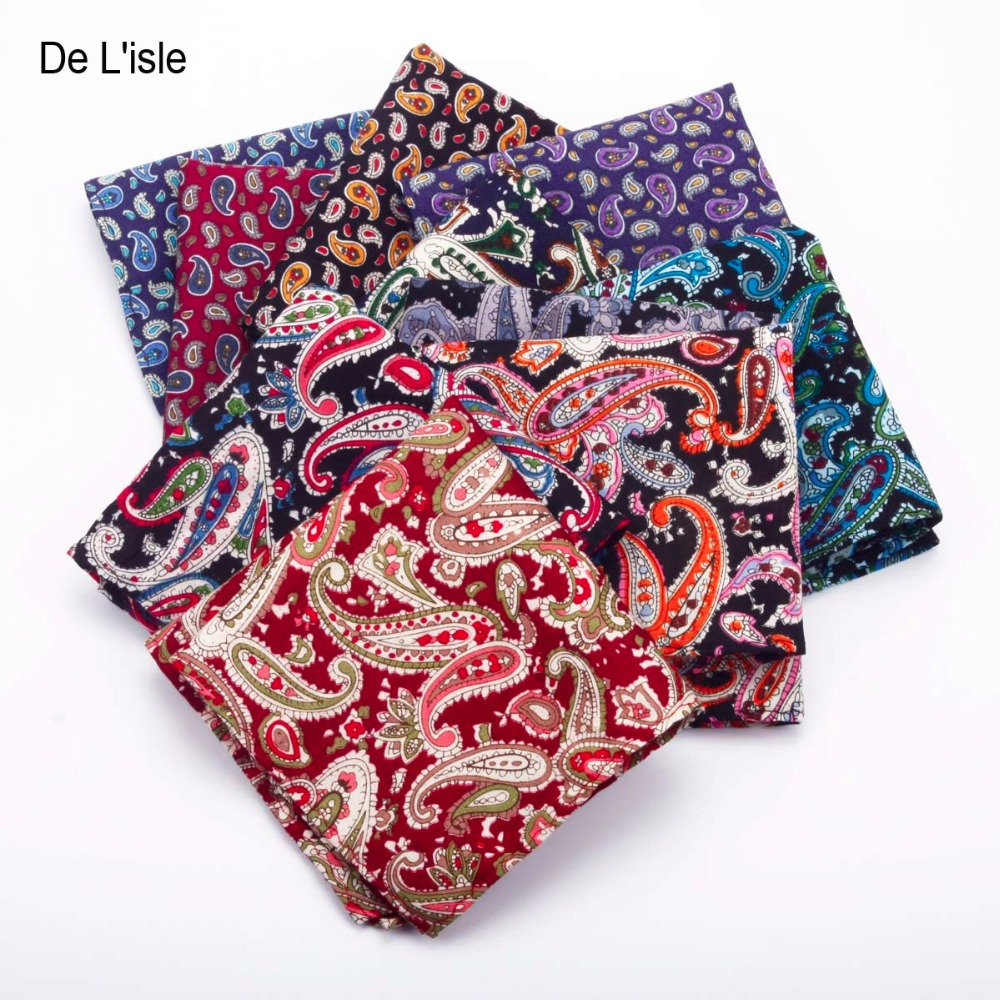 100% Cotton Handmade Fashion Pocket Square Paisley Pattern Bandanna Pocket Hanky With Giftbox - Factory Outlet