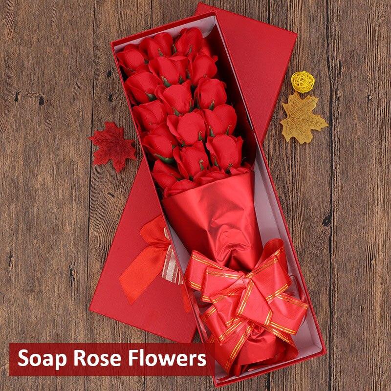 Мыло в Форме Розы Ароматизированный цветок розы в подарочной упаковке 18 шт. вечность c розами, подарок на праздник поздравление День Святого Валентина подарок украшение