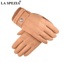 LA SPEZIA Winter Gloves Men Thermal Khaki Suede With Buckle Touch Screen Male Coral Velvet Thick Windproof Mittens Warm