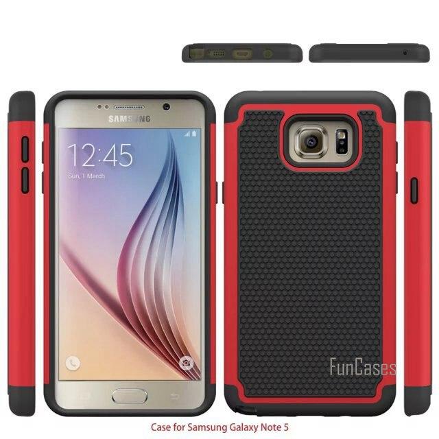 Pour Samsung Galaxy Note 5 Case Heavy Duty De Protection Armure choc Absorbant Double Couche Hybride Robuste Cas de Couverture En Caoutchouc Pour Note5