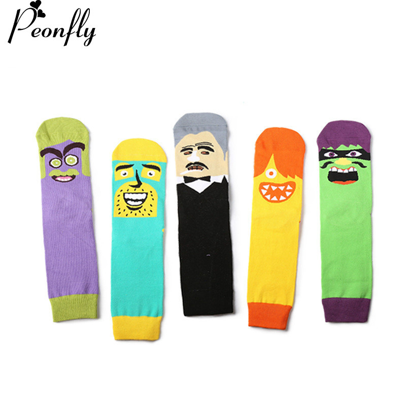 PEONFLY5pairs/lot 2017 Colorful mens cotton socks Cotton Autumn And Winter New Cartoon Funny Men Socks Long Funny Socks