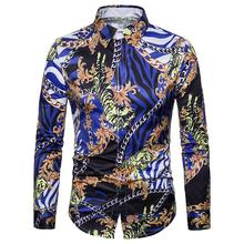 Mens dress Shirts Chain Tiger Digital print Blouse Men Long-sleeved Hawaiian Shirt clothing