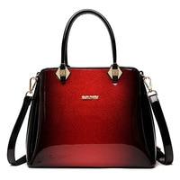 2018 New Luxury Genuine Leather Women Handbag Designer High Quality Patent Leather Messenger Bag Ladies Red