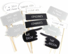Pack of 12 Funny Wedding Photo Booth Props Kit Chalkboard Style  on a Stick Engagement Party Signs Supplies