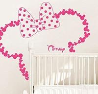 Eco-friendly Vinyl Customize Name Mickey Head Minnie Wall Sticker Art Vinyl Home Decor Mural for Girls Room Kids Nursery Y-143