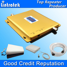 LCD Display 3G W-CDMA 2100MHz + GSM 900Mhz Dual Band Mobile Phone Signal Booster 900 2100 Cell Repeater Full set