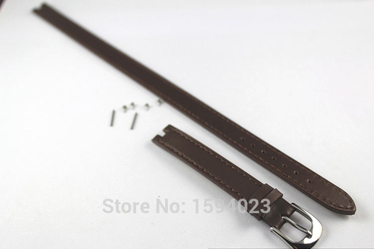 12mm (Buckle12mm) T084210 High Quality Pin Buckle +   Dark  Brown Genuine Leather Watch Bands Strap Free shipping 18mm buckle 16mm women top grade high quality genuine leather watch bands strap b44