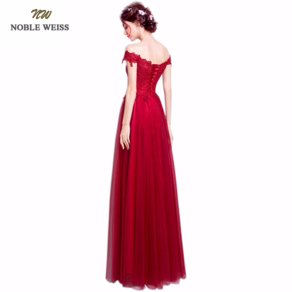 9ea078293b6 Rochii de seară NOBLE WEISS 2019 Sexy Evening Dress FLoor Length A-Line  Dark Red Lace Tulle Robe De Soiree Lace-up Back Prom Dresses