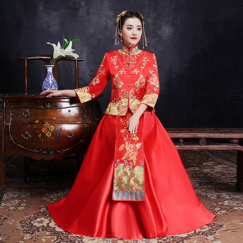 Chinese Star style wedding show Embroidery cheongsam gown robe clothing pratensis dragon gown evening dress noiva