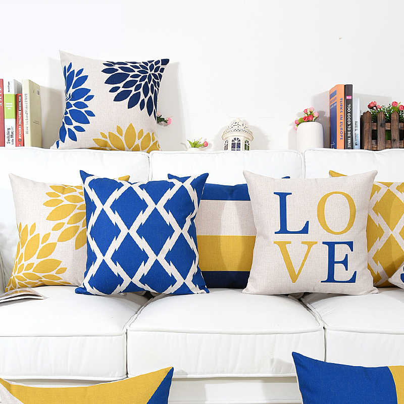 Nordic Style Yellow And Blue Geometric Home Decorative Soft Throw Pillow Case Letter LOVE Print Cushion Cover Almofadas Cojines