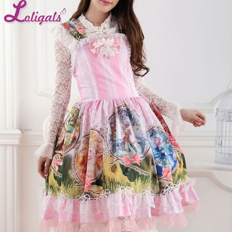 Здесь продается  Sweet Pink Colorful Horoscope Story Printed Lace Lolita Jumper Skirt Women