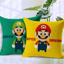 Super Mario Cartoon Vintage Nostalgic Classic Printing Linen Cotton Pillow Case Car Chair Home Throw Pillows Cushion Cover 18