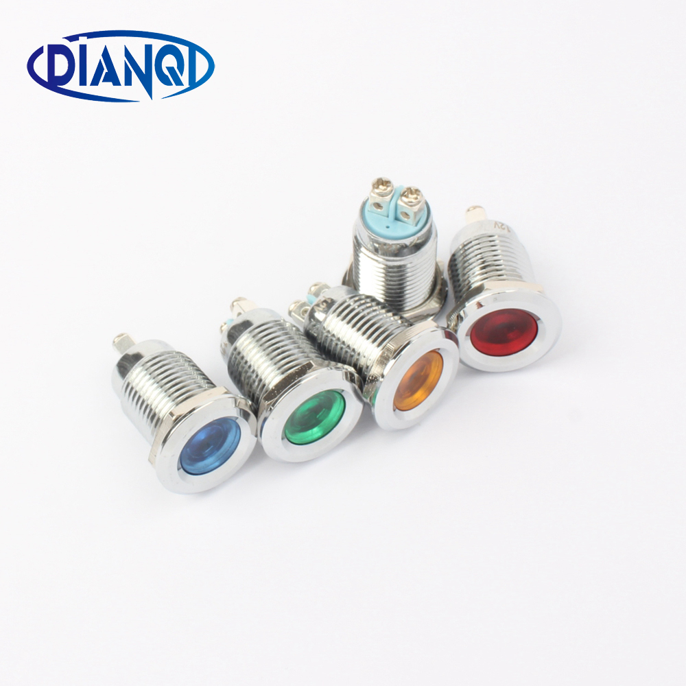 LED Metal Indicator Signal Power Light 12mm Waterproof 3V 6V 12V 24V 220v Screw Terminal Connect Red Yellow Blue White 12ZSD.A.L