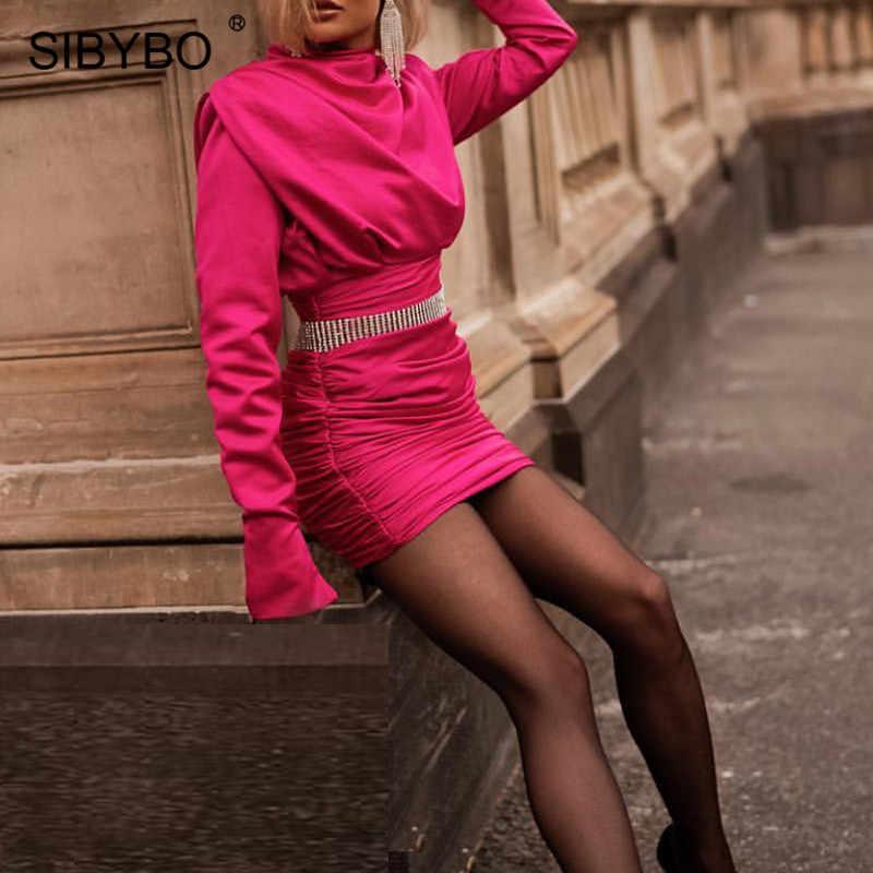 Sibybo Satin Rollkragen Mini Casual Kleid Frauen Langarm Plissee Herbst Sexy Bodycon Kleid Winter Kurze Frauen Party Kleid
