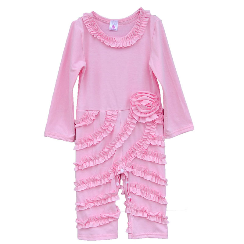 Newborn Baby Knitted Cotton Bodysuits Long Sleeves Ruffle Infant Jumpsuits Boutique Girls Princess Kids Sleepwear Clothing R001 5pcs lot baby bodysuits original infant jumpsuits autumn overalls cotton coveralls boy girls baby clothing set cartoon outerwear