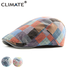 CLIMATE Men Women Plaid Berets Hat Colorful Plaid Beret Hat Women Men