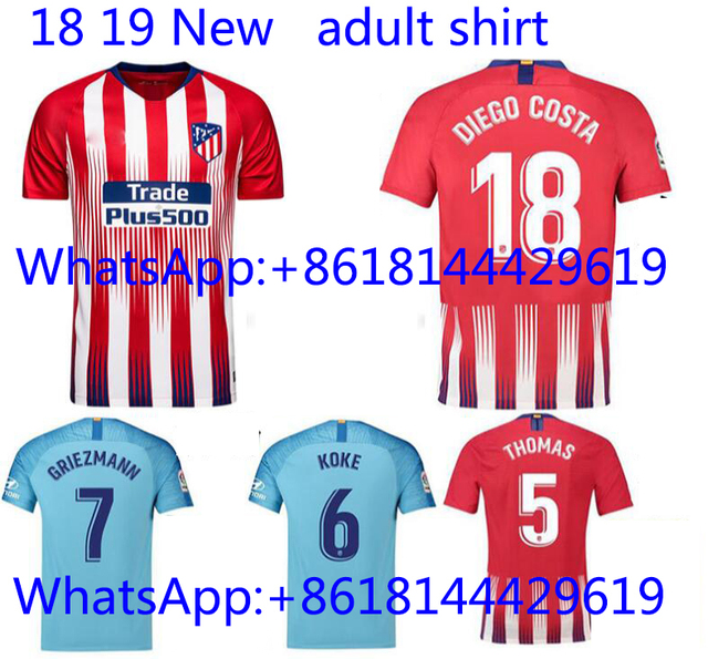 0b97852fe 2019 Thai Edition AAA Best Quality jersey adult t shirt 18 19 Atleticoes  Madrides Red black custom shirt de foot Free shipping