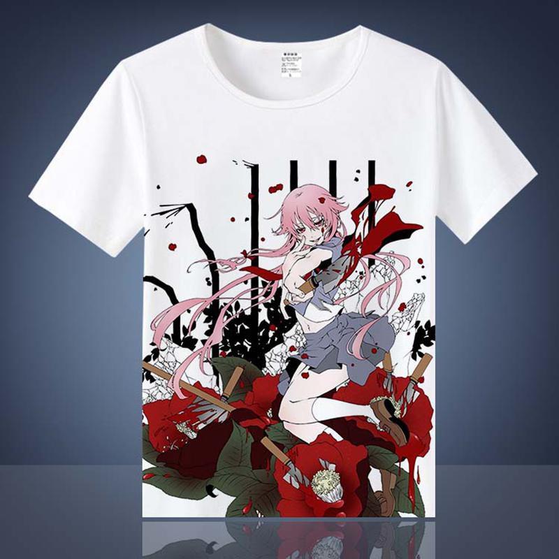 Mirai Nikki Gasai Yuno T-shirts Anime Printed T Shirts Short Sleeve Tees Amano Yukiteru Casual Summer Tops
