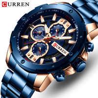 Reloj CURREN para hombre, Reloj de acero inoxidable, Reloj cronógrafo de cuarzo, Reloj deportivo para hombre
