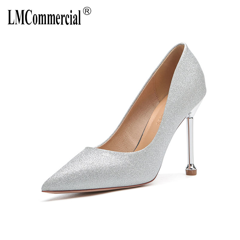 spring wedding banquet with silver high heels for women's shoes pointed fine undertakes contracted fashion women shoes pumps