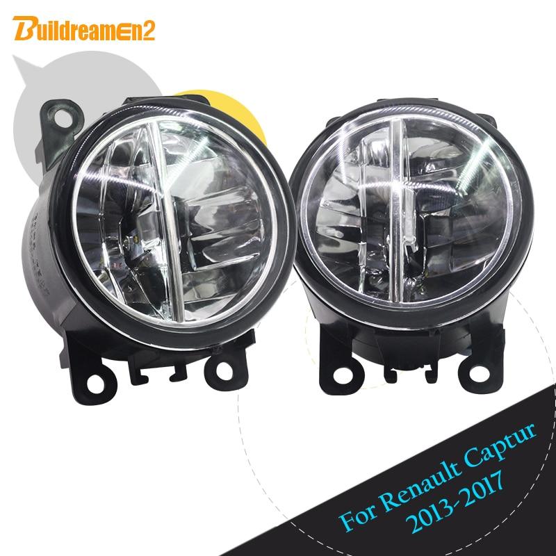 Buildreamen2 2 Pieces Car LED Fog Light DRL Daytime Running Light 12V High Bright For Renault