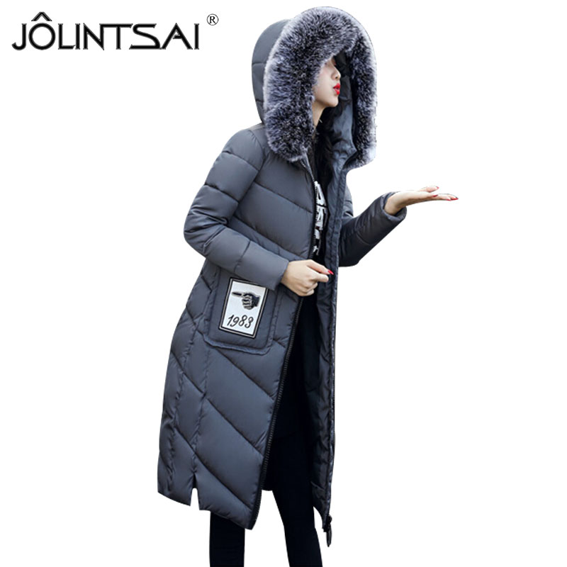 Women Winter Coat Jacket Thick Warm Woman Parkas Medium Long Female Overcoat Fur Collar Hooded Cotton Padded Coats 2017 women jackets and coats solid slim large fur collar hooded short parkas thick jacket winter women warm coat overcoat sy003